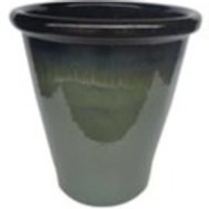 Planter, Green Glaze Blacktop