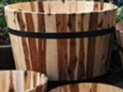 Planter, Extra Large Acacia Barrel
