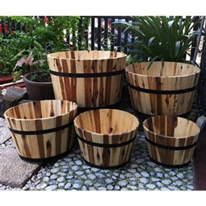 Planters, Acacia Wood Barrel Set