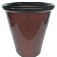 Planter, Brown Glaze Blacktop