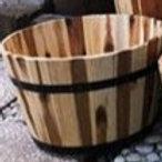 Planter, Medium Acacia Barrel