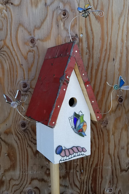 Birdhouse, Stained Glass Butterflies