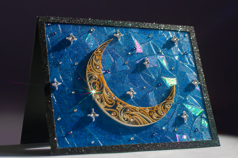 Moon Song - 5D Swarovski Quilled Card