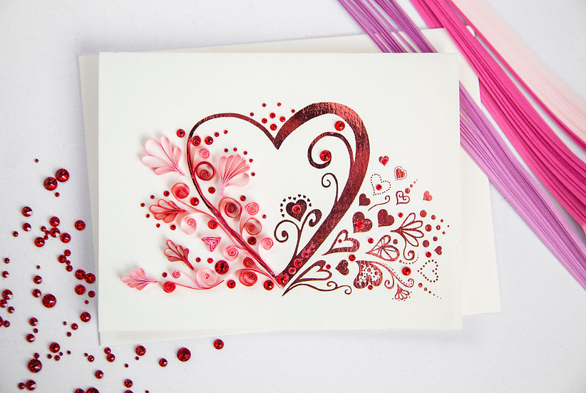 Floral Hearts - 5D Swarovski® Quilled Card