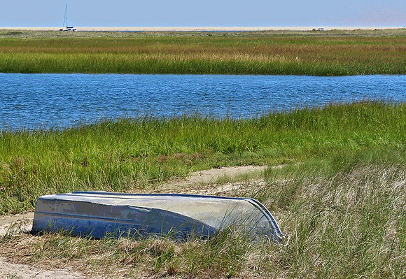 Upside down rowboat on the sand near Aunt Lydia's Cove, Chatham, Mass.