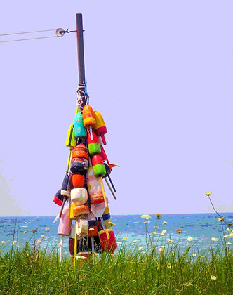 Multi-colored buoys on a pole, with Cape Cod Bay in background