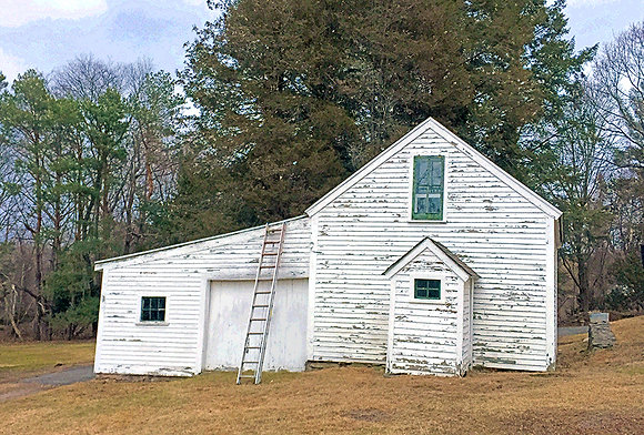 White farmhouse in autumn