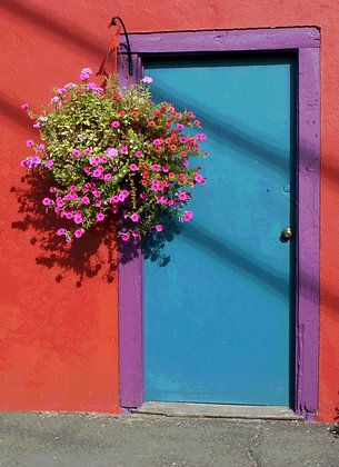 Pink flowers in a hanging planter in front of blue door with purple frame on red building