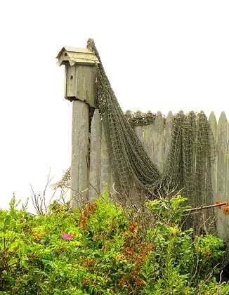 Bird house on post, with fishnet draped over a fence