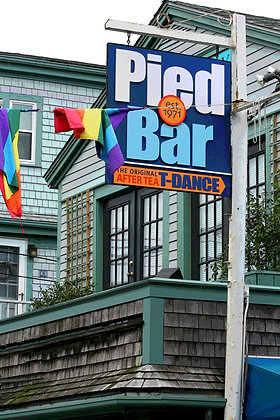 Sign in front of the Pied Bar, a lesbian bar in Provincetown