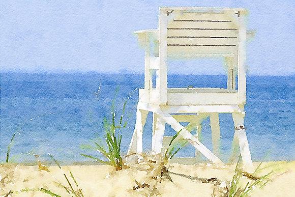 White lifeguard chair on a beach