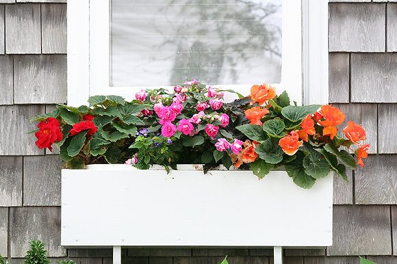 Pink, red, and orange flowers in a white window box on a gray house