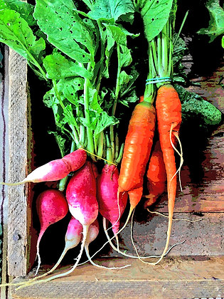 Bunches of radishes and carrots in a wooden crate