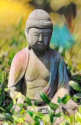 Buddha statue in a spring garden, digitally painted