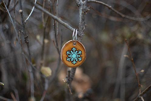 Snowflake Wood Tag