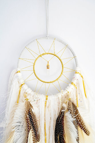 "SOLD - White Quartz Crystal Dream catcher ~ 8"" SandSilkSky ~ Boho Spring Decor"