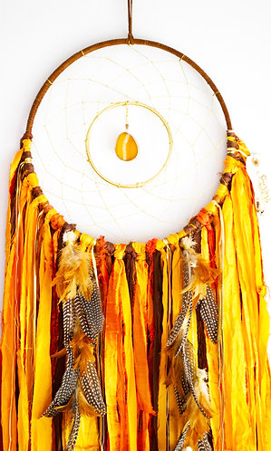 Golden Leaves Dreamcatcher~ Gold with Agate ~ Autumn Decor ~ Christmas Gift