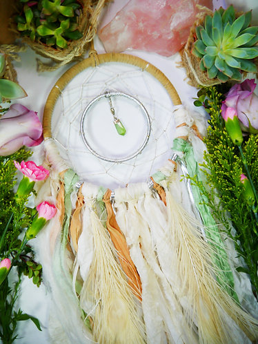 Green Peridot Dream Catcher ~ SandSilkSky ~ Summer Desert Decor