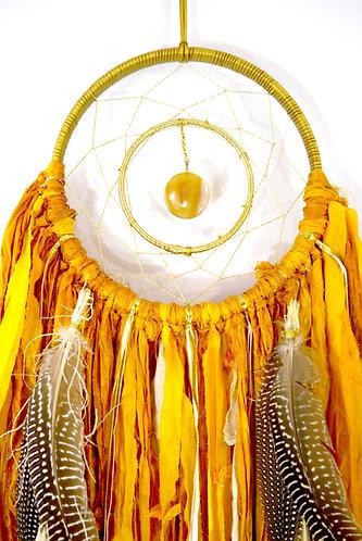 SOLD -- Golden Yellow Dreamcatcher ~ Autumn Decor ~ Hostess Gift