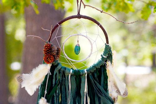 SOLD -- Aspen Pine Green Dreamcatcher with Silver Aventurine