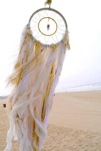 "SOLD - Sedona Collection White Dreamcatcher - 8"" with White Quartz Arrowhead"