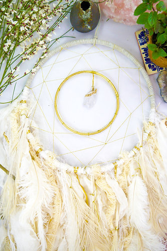 SOLD - White Quartz Crystal Dreamcatcher