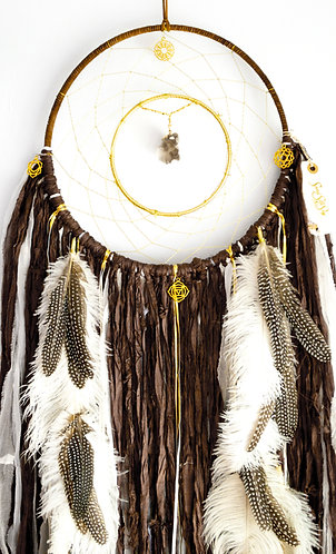 Autumn Leaves Brown Dreamcatcher ~ Smoky Quartz ~ Christmas Gift ~Home Decor