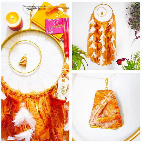 SOLD - Orange Quartz Dreamcatcher