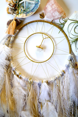 SOLD - White, Cream, Grey Dreamcatcher