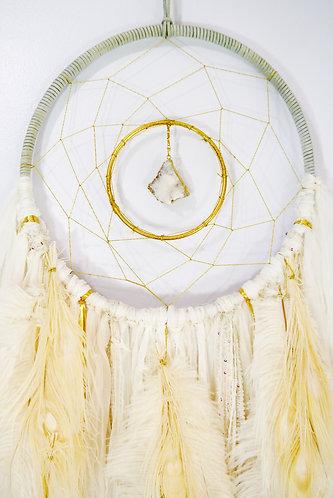 SOLD -- White Quartz Dreamcatcher ~ Beach Decor ~ Christmas Gift
