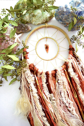 "Sedona Collection Pink Dreamcatcher - 8"" with Pink Abalone Shell Arrowhead"