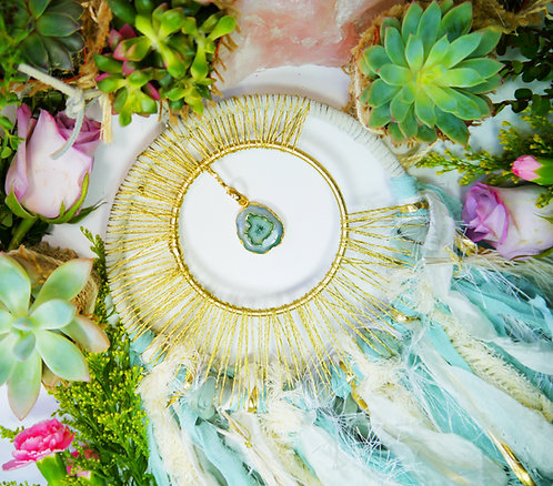 Golden Moon Beam + Teal Solar Quartz Dreamcatcher