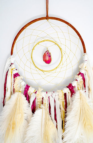 SOLD - Raspberry Cream Dream Catcher ~ Agate Slice ~ Boho Bedroom Decor