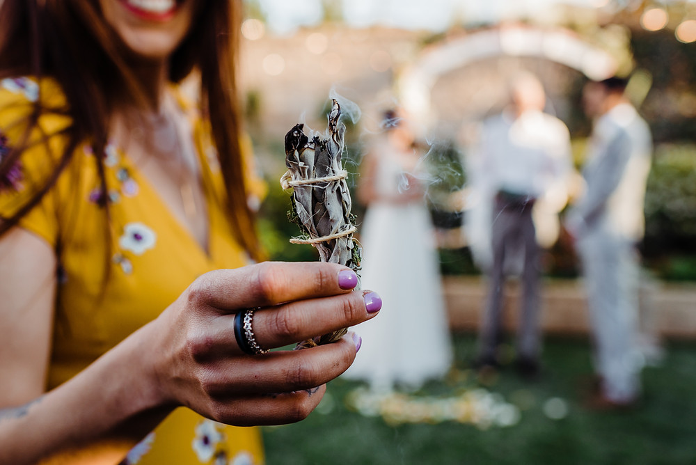 Smudging Mindfully at SandSilkSky Wedding Ceremony