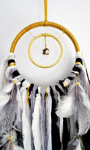 "SOLD - Black, White + Grey Tourmaline Dream Catcher ~ Small 6"" ~ Boho Nursery"