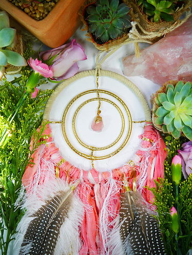 Pink Rose Quartz Dreamcatcher ~ SandSilkSky ~ Nursery Decor ~ Baby Gift