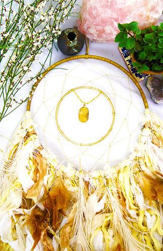 Harvest Sun Dreamcatcher ~ Yellow Jasper ~ Hostess Gift for Her ~ Bohemian Art