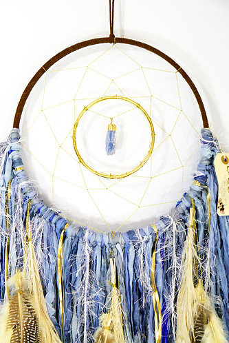 SOLD- Blue Kyanite Dreamcatcher ~ SandSilkSky ~ Autumn Decor ~ Thanksgiving Gift