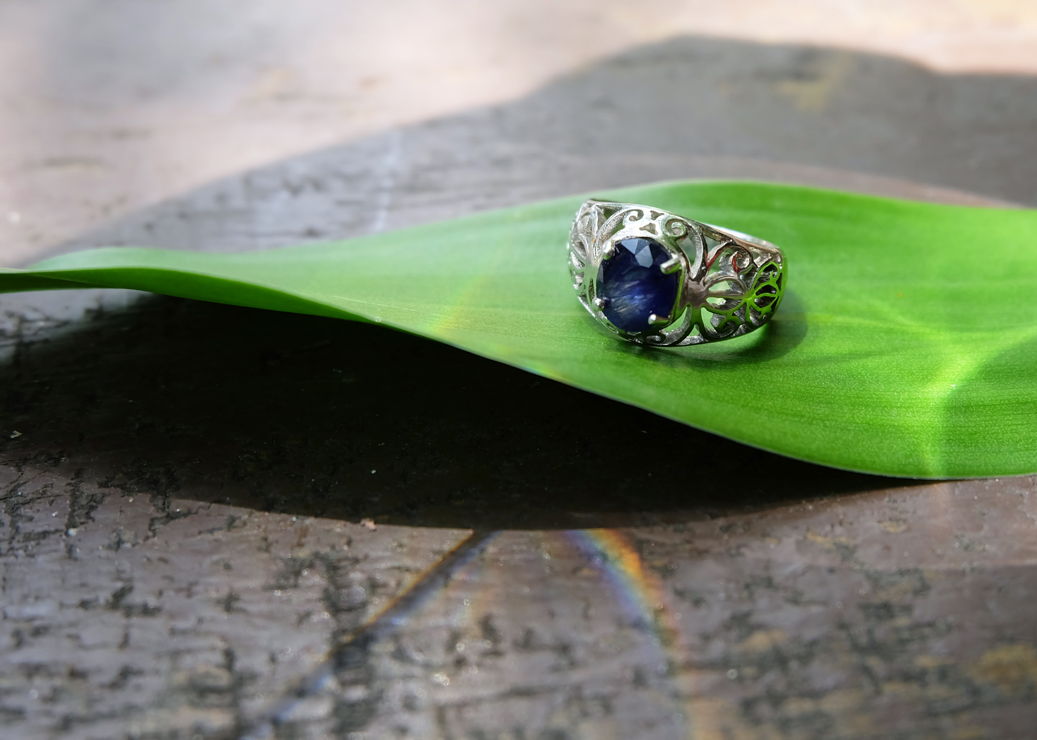 Blue Sapphire, Sterling Silver 92.5%