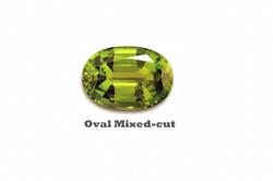 Peridot in oval mixed cut