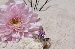 Pink Tourmaline with cubic zirconia