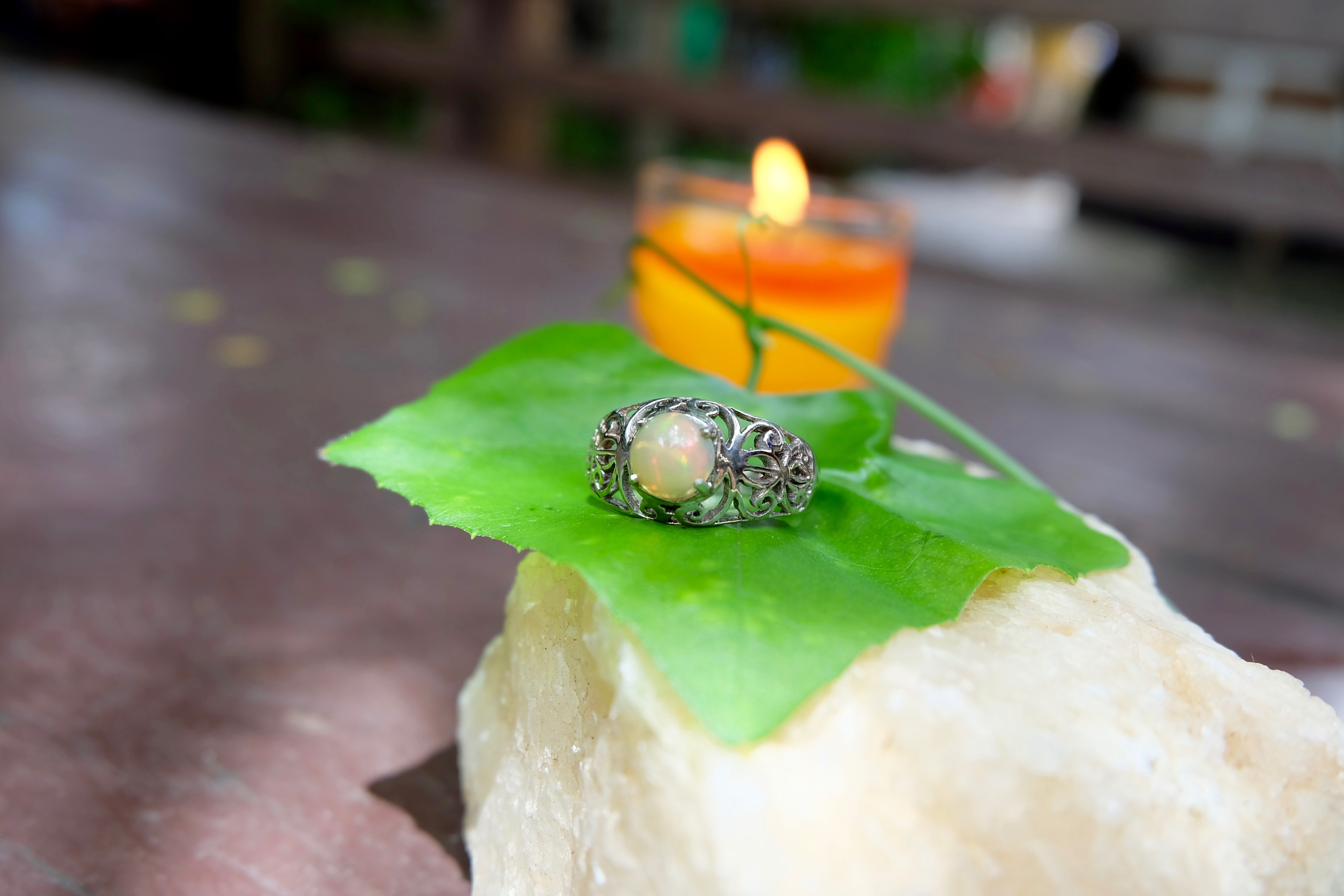 Opal with sterling silver ring 92.5%