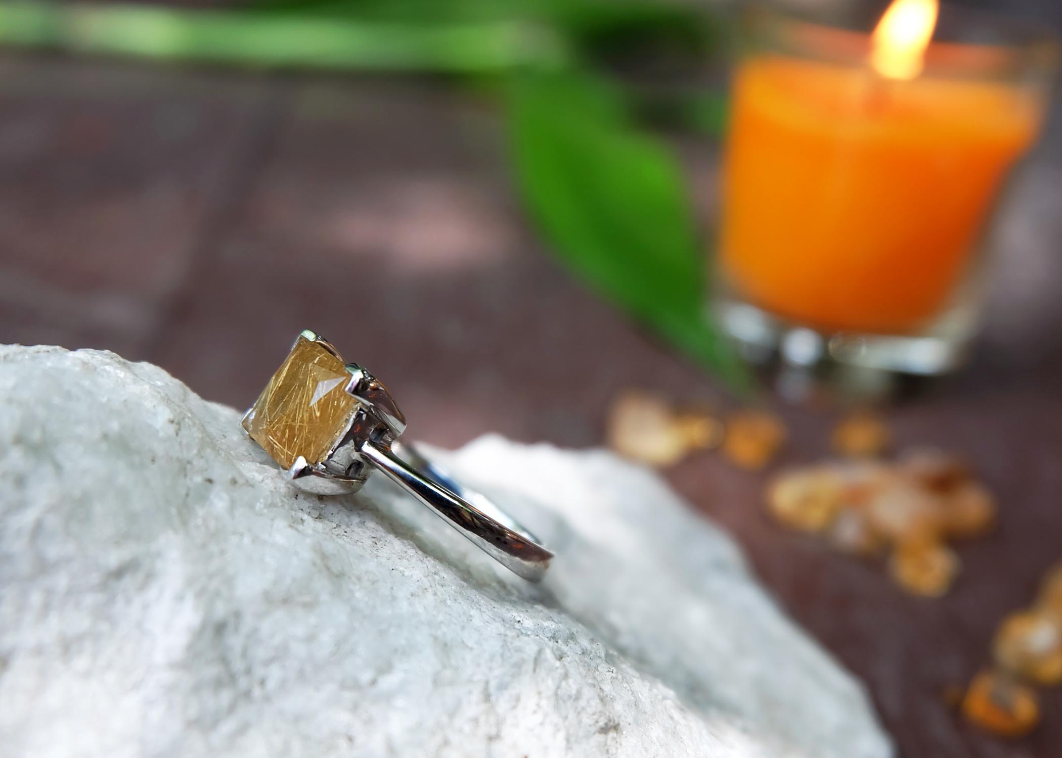 Rutile Quartz in Silver 92.5% ring