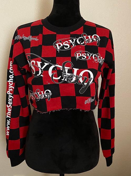 Checkered Past Long Sleeve Crop Top (Women)