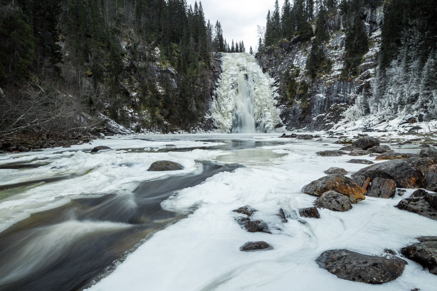 Frozen waterfall Storfossen