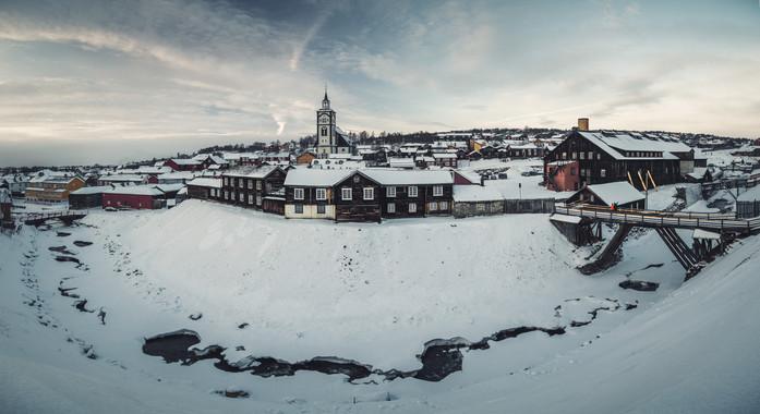 Panoramic Røros during wintertime.
