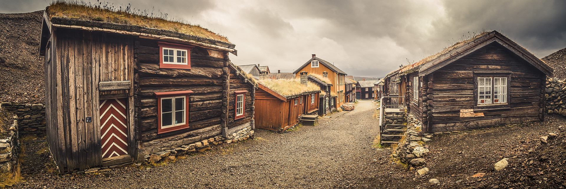 Panoramic view on the street of Røros