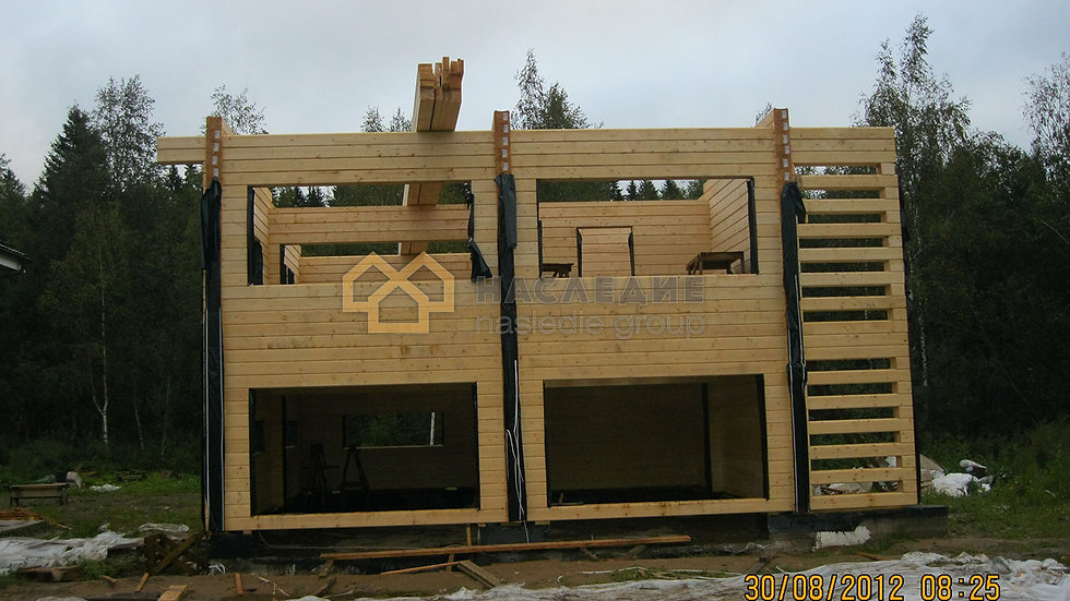 Дом с гаражом из клееного бруса в д. Румянцево