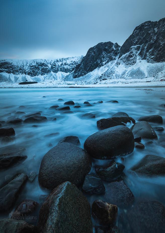Blue hour on Unstad beach