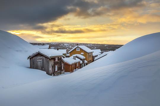 Old town of Røros in winter look